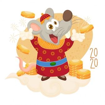 Feliz ano novo. rato com moedas da fortuna