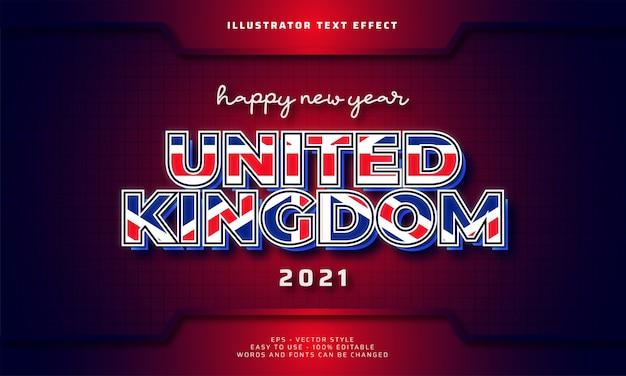 Feliz ano novo reino unido 2021 efeito de texto editável