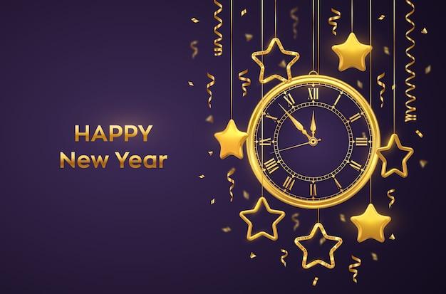 Feliz ano novo relógio dourado brilhante com algarismo romano e contagem regressiva na véspera da meia-noite