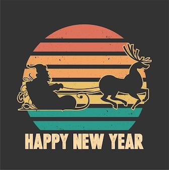 Feliz, ano novo, santaclaus, isolado, ilustração.