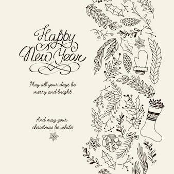 Feliz ano novo, saudações, tipografia, desenho, cartão decorativo, doodle, desejos, todos os seus dias sejam alegres e brilhantes