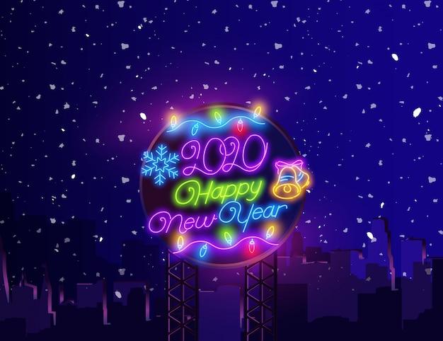 Feliz ano novo sinal de néon