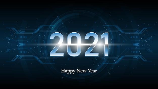 Feliz ano novo. texto elegante sobre fundo de tecnologia.