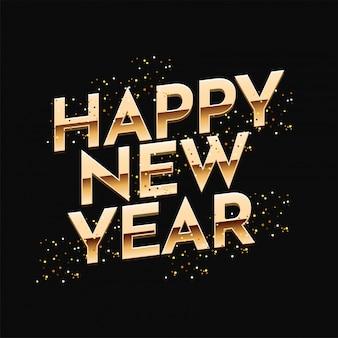 Feliz ano novo texto sobre fundo preto.