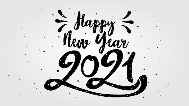Feliz ano novo tipográfico. ilustração retro com composição de letras e estouro. etiqueta festiva vintage de férias