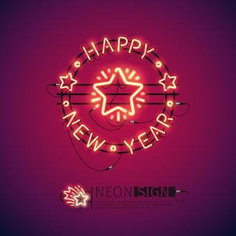 Feliz ano novo, vermelho, sinal néon