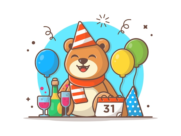 Feliz ano novo vetor icon ilustração