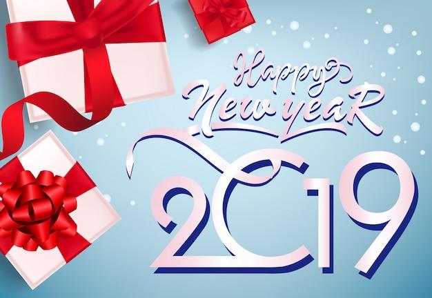 Feliz ano novo, vinte dezenove flyer design. caixas de presente