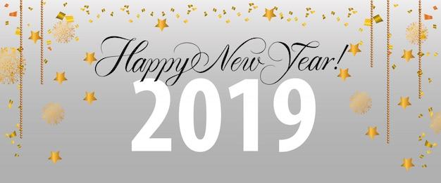 Feliz ano novo, vinte e dezenove letras com decorações