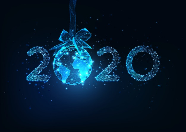Feliz ano novo web digital de fundo com o número 2020 futurista e o globo da terra pendurado no laço de fita