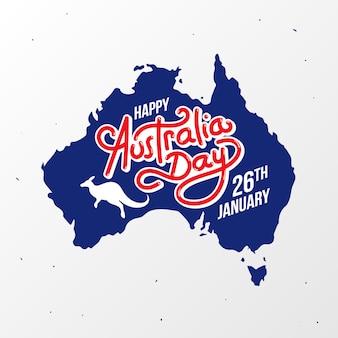 Feliz, austrália, dia, mapa, bandeira, cartaz, cartão, vetorial, cartão