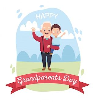 Feliz avô velho com netinho no acampamento