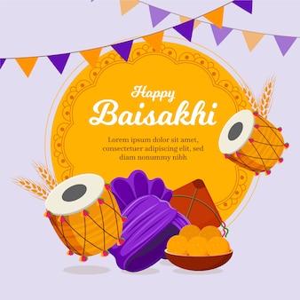 Feliz baisakhi banner em design plano