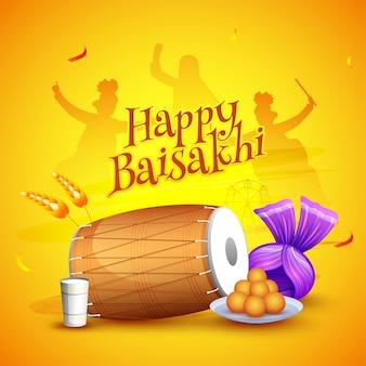 Feliz baisakhi festival com silhueta de pessoas dançando punjabi, instrumento tradicional, doces e turbante.