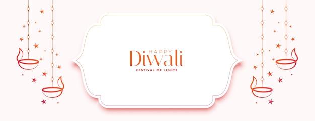 Feliz banner branco de diwali com diya e estrelas