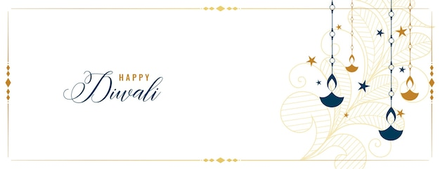 Feliz banner branco diwali com decoração diya e estrelas