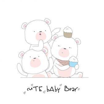 Feliz bebê fofo urso sem costura padrão