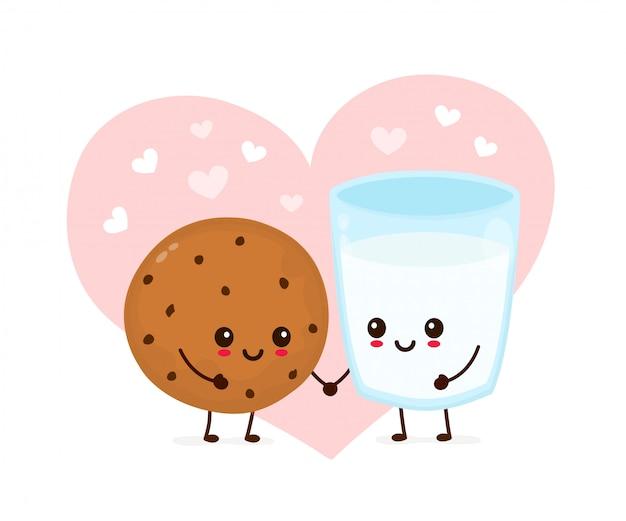 Feliz biscoito de chocolate fofo e copo de leite apaixonado
