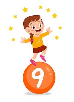 Feliz, bonito, criança, estudo, matemática, número