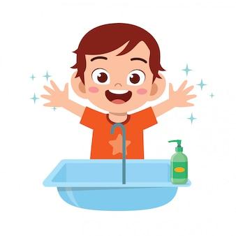 Feliz, bonito, criança menino, lavagem, mão pia