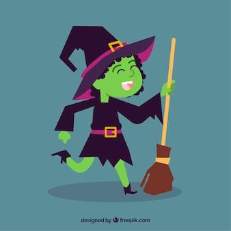 Feliz bruxa dançando Vetor grátis