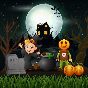 Feliz bruxa de halloween e vampiro na noite