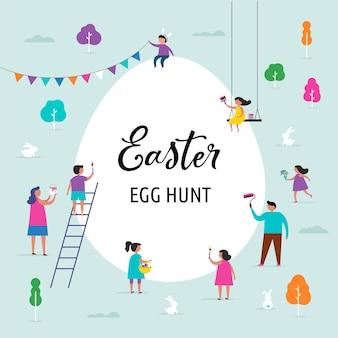 Feliz caça aos ovos de páscoa com as famílias