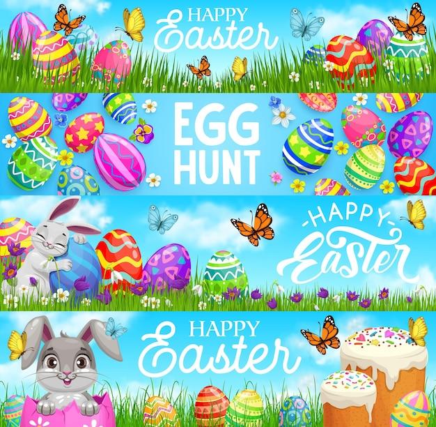 Feliz caça aos ovos de páscoa, desenhos de coelhos, ovos pintados e bolos em um prado com flores