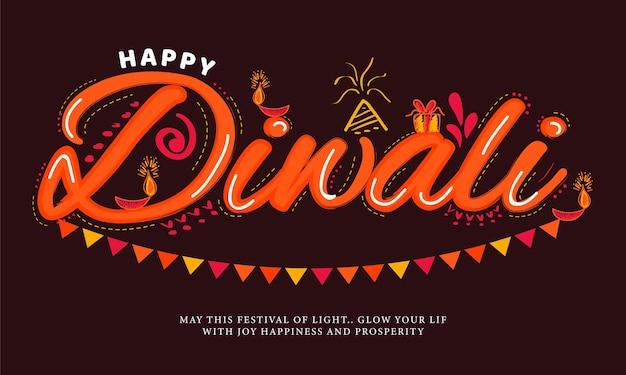 Feliz caligrafia criativa ou letras de diwali