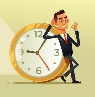 Feliz, calmo empresário, escritório trabalhador, personagem, sentado, em, grande, relógio, mostrando, ok, suspiro, tempo, relógio, organização, conceito, apartamento, desenho