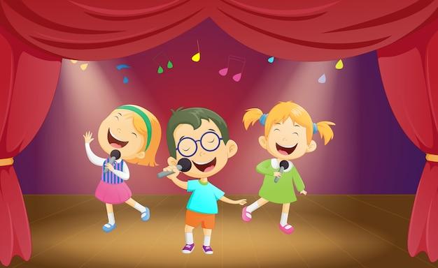 Feliz, caricatura, meninos meninas, cantando, fase