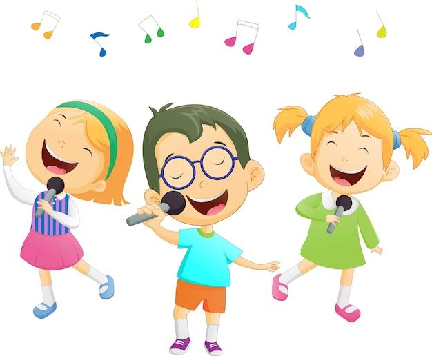 Feliz, caricatura, meninos meninas, cantando