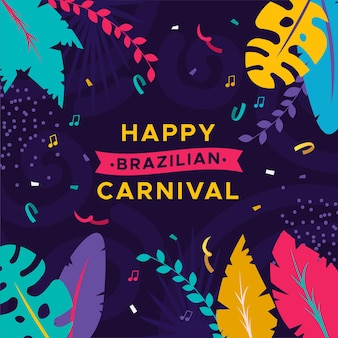Feliz carnaval brasileiro com folhas coloridas
