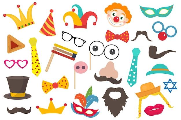 Feliz carnaval de purim com elementos de fantasias engraçadas para a festa. adereços de feriado judaico de purim para baile de máscaras, sessão de fotos.