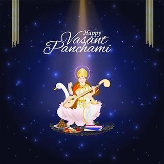 Feliz cartão comemorativo vasant panchami e plano de fundo