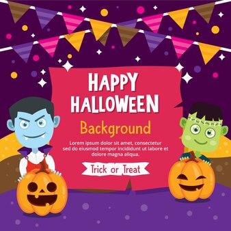 Feliz cartão de halloween com traje de vampiro e frankenstein