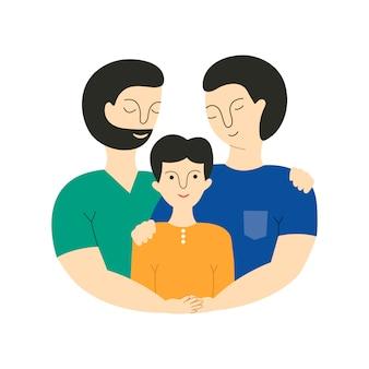 Feliz casal gay masculino com filho adotivo.