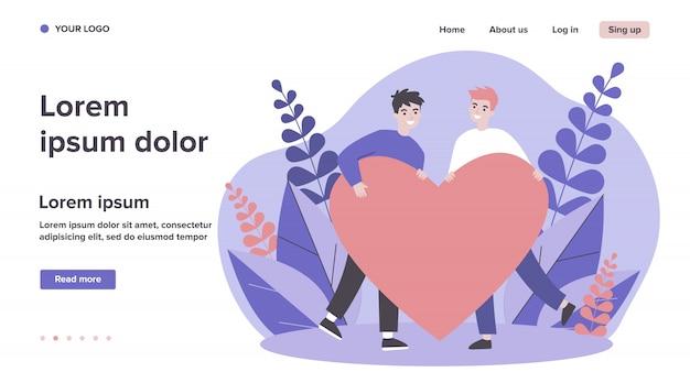 Feliz casal gay masculino segurando coração vermelho