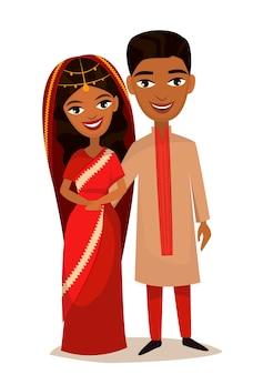 Feliz casal jovem indiano família