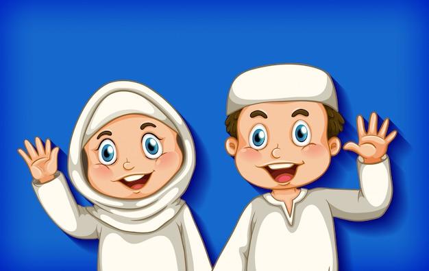 Feliz casal muçulmano na cor de fundo gradiente