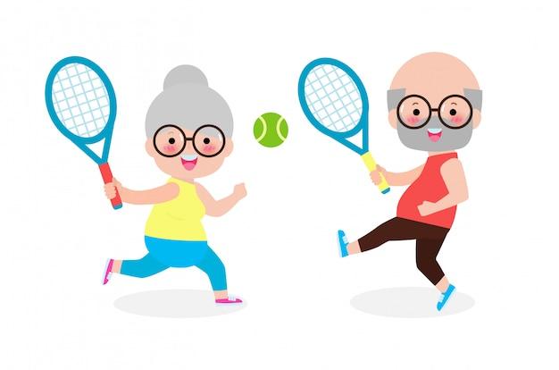Feliz casal sênior bonito jogando tênis ao ar livre, isolado no fundo branco pessoas idosas com equipamentos esportivos ilustração