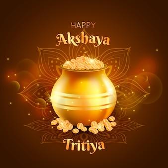 Feliz celebração akshaya tritiya dia
