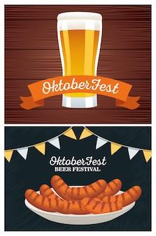 Feliz celebração da oktoberfest com cerveja e salsichas no design de ilustração vetorial de prato