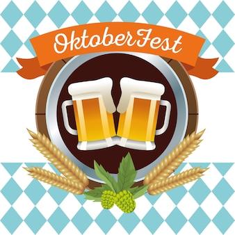 Feliz celebração da oktoberfest com cervejas e design de ilustração vetorial de quadro circular de cevada