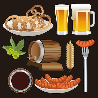 Feliz celebração da oktoberfest com conjunto de ícones de design de ilustração vetorial