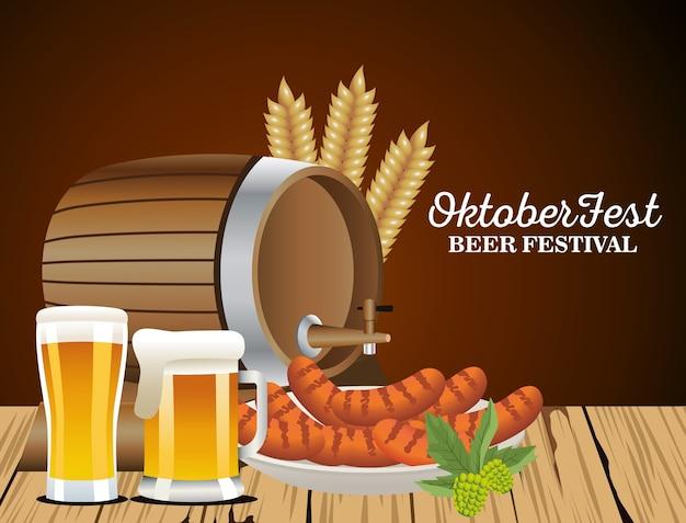 Feliz celebração da oktoberfest com design de ilustração vetorial de cervejas
