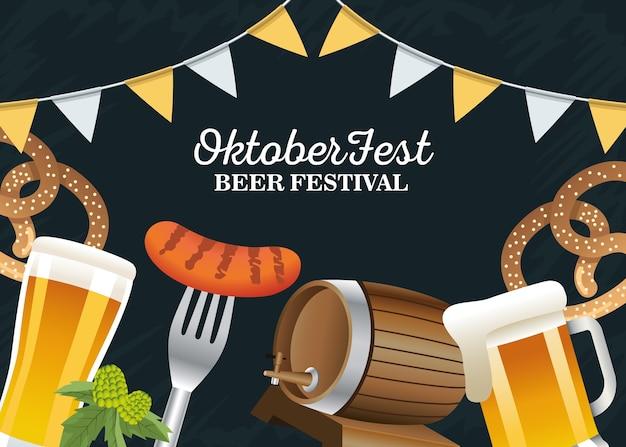 Feliz celebração da oktoberfest com guirlandas e ícones de conjunto de design de ilustração vetorial