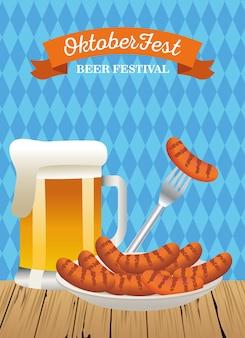 Feliz celebração da oktoberfest com jarra de cerveja e salsichas ilustração vetorial