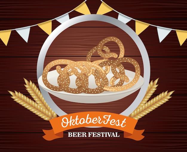 Feliz celebração da oktoberfest com pretzels em design de ilustração vetorial de moldura de madeira