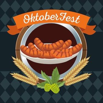 Feliz celebração da oktoberfest com salsichas em design de ilustração vetorial de moldura de madeira